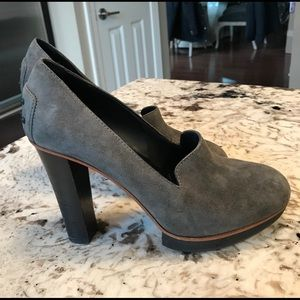 Tod's Gray Suede platform loafers pumps shoes sz 5